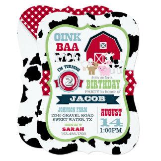 Farm Animals Cowhide Gingham Country Boy Birthday Card