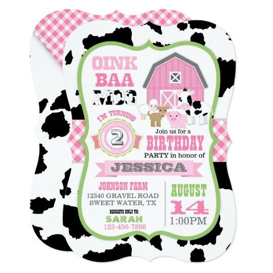 Farm Animals Cowhide Gingham Country Girl Birthday Invitation