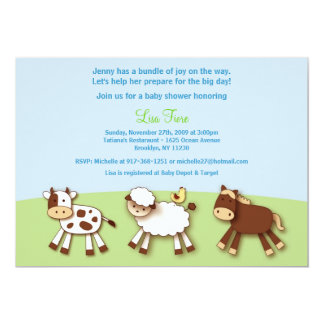Farm Animals Custom Baby Shower Invitations