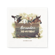 Farm Animals Cute Birthday Napkins