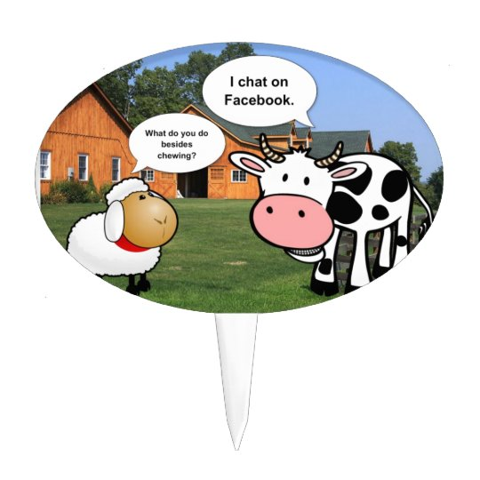 Farm animals cute cartoon funny facebook chat cake topper