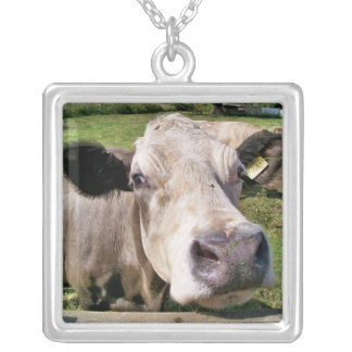 FARM ANIMALS, CUTE COW SILVER PLATED NECKLACE