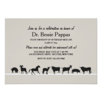 Farm Animals Dr. of Veterinary Medicine Graduation Invitation
