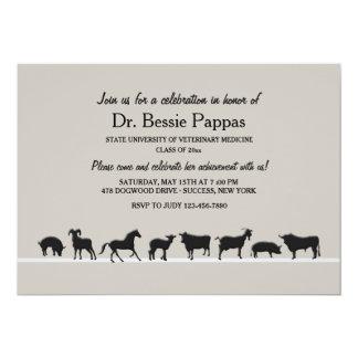 "Farm Animals Dr. of Veterinary Medicine Graduation 5"" X 7"" Invitation Card"