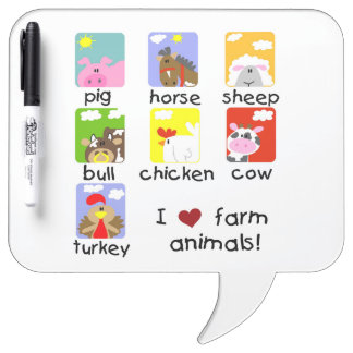 Farm Animals Dry Erase Board