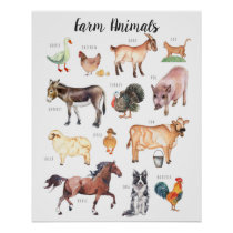 Farm Animals | Education Learning Classroom Poster