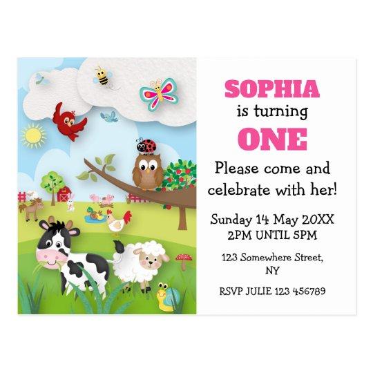 Farm Animals First Birthday Invitation Postcard