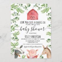 Farm Animals Foliage Baby Shower Invitation
