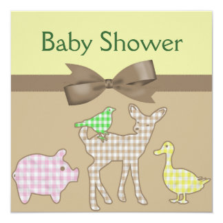 Farm Animals Gingham Neutral Baby Shower Card