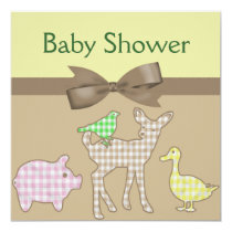 Farm Animals Gingham Neutral Baby Shower Invitation