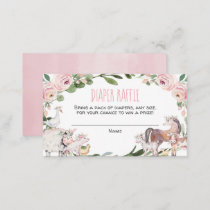 Farm animals girl baby shower diaper raffle cards