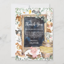 Farm Animals Greenery 1st Birthday Baby Shower Thank You Card