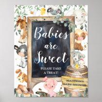 Farm Animals Greenery Babies are Sweet Take Treat Poster