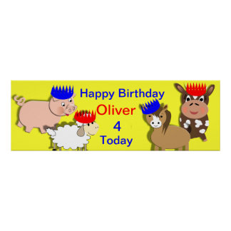 Farm Animals Happy Birthday Personalized Banner Print