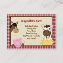Farm Animals Horse, Cow, Pig Business Cards