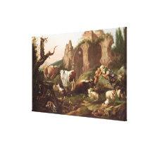 Farm animals in a landscape, 1685 canvas print