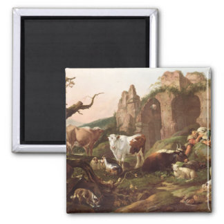 Farm animals in a landscape, 1685 magnet