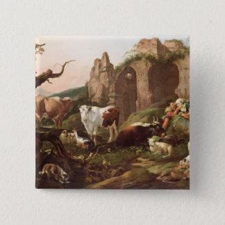 Farm animals in a landscape, 1685 pinback button