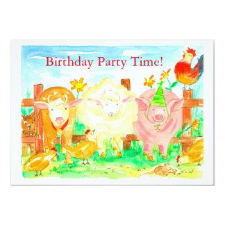 Farm Animals Kids Birthday Party Invitation