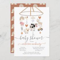 Farm Animals Mobile Baby Shower Invitation