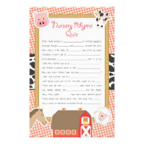 Farm Animals Nursery Rhyme Baby Shower Game Flyer