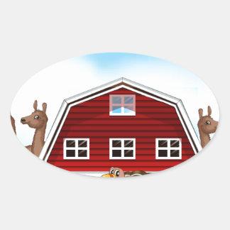 Farm animals oval sticker