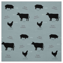Farm Animals Pattern (Light) Fabric