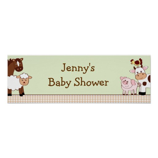 Farm Animals Personalized Baby Shower Banner Poster