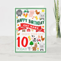 Farm Animals Personalized Birthday Card