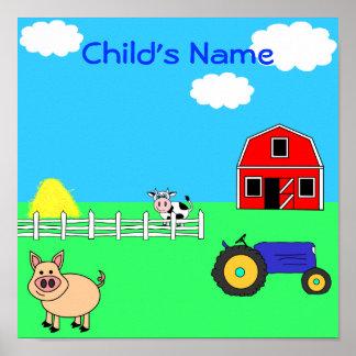 Farm Animals Personalized Child's Name Print