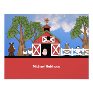 Farm Animals Personalized Thank You Notecard Custom Announcement