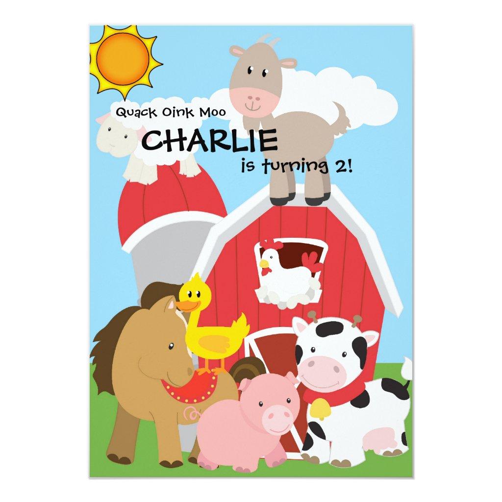 Farm Animals Pig Duck Cow Hay Barn Birthday Invite