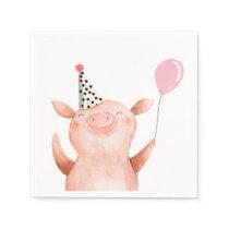 Farm Animals Pig Girl Birthday Barnyard Pink Napkin