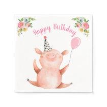 Farm Animals Pig Girl Birthday Barnyard Pink Napkins