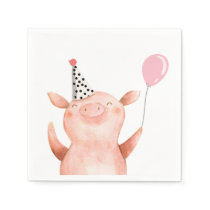 Farm Animals Pig Girl Birthday Barnyard Pink Napkins