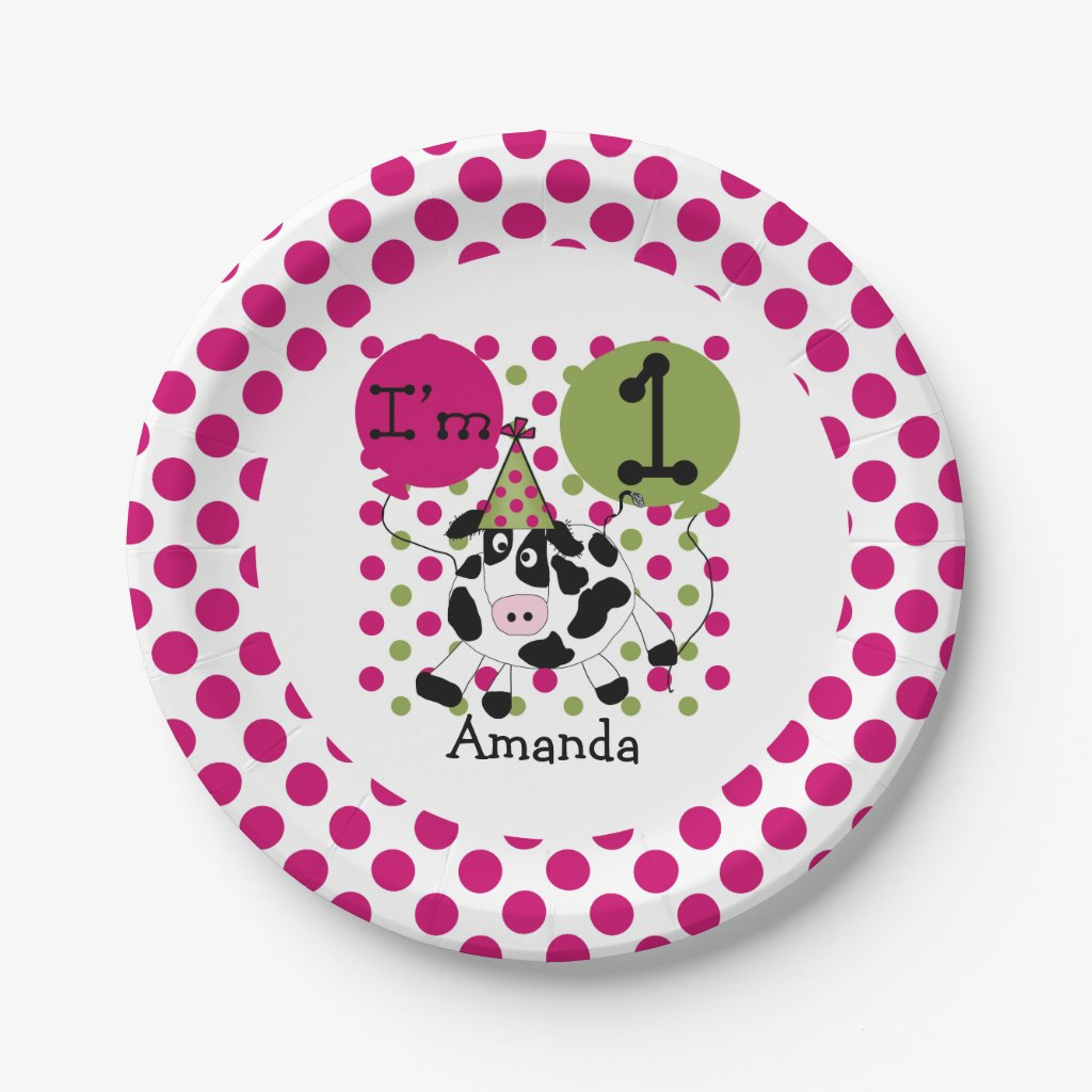 Farm Animals Pink Cow 1st Birthday Paper Plates
