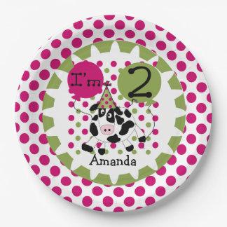 Farm Animals Pink Cow 2nd Birthday Paper Plates