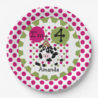 Farm Animals Pink Cow 4th Birthday Paper Plates 9 Inch Paper Plate