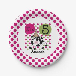 Farm Animals Pink Cow 5th Birthday Paper Plates