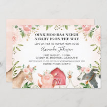 Farm Animals Pink Floral Baby Shower Invitation