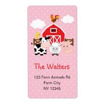 Farm Animals (Pink) Return Address Labels
