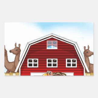 Farm animals rectangular sticker