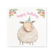 Farm Animals Sheep Girl Birthday Barnyard Pink Napkins