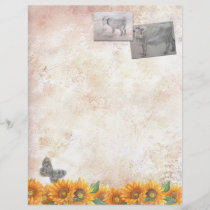 Farm Animals Sketch with Sunflower Letterhead