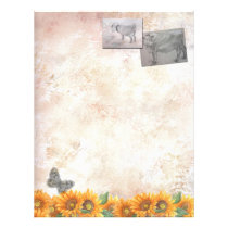 Farm Animals Sketch with Sunflower Letterhead