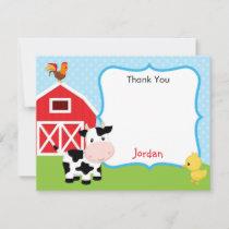 Farm Animals Thank You Card Boy (Blue) - Barnyard