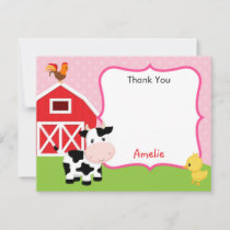 Farm Animals Thank You Card Girl (Pink) - Barnyard