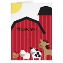 Farm Animals Thank You Cards