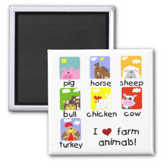 Farm Animals Tshirts and Gifts 2 Inch Square Magnet