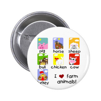 Farm Animals Tshirts and Gifts Button